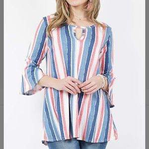 Coral & Ivory Stripe Keyhole Bell-Sleeve Tunic